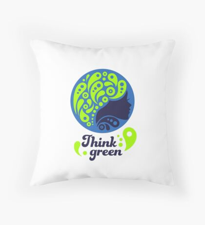 Think Green, Ecology Concept icon, woman half face silhouette Throw Pillow