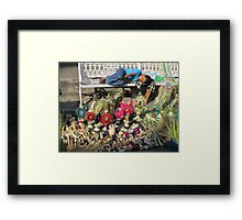 The sleep - little boy sleeping on the Easter market - El sueño Framed Print