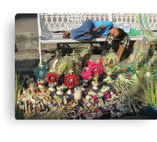 The sleep - little boy sleeping on the Easter market - El sueño Canvas Print