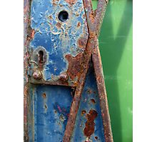 A Rusty Old Lock On An Open Gate Photographic Print