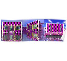3 Views of a Mod Modern Houseboat Poster