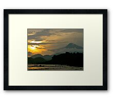 Cameroon Mountains & Ocean at Sunset Framed Print
