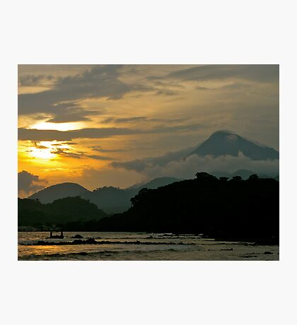 Cameroon Mountains & Ocean at Sunset Photographic Print