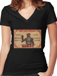 Vintage Robot Match Box Women's Fitted V-Neck T-Shirt