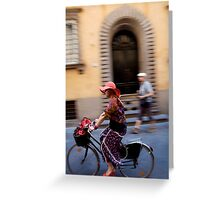 peoplescapes #221, flowers on wheels Greeting Card