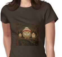 Family of little owls Womens Fitted T-Shirt