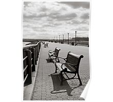 Lonely Park Benches - Liberty State Park, NY Poster