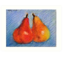 A Different Kind of Pair - Original Pastel Painting Drawing by Cuban Artist Magaly Size 6x8 Art Print