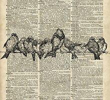 Vintage Birds On Branch Dictionary Art by DictionaryArt