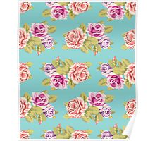 Pink and purple roses on a turquoise background. Retro style Poster