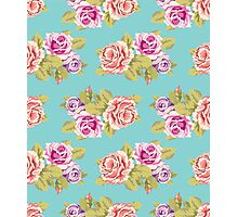Pink and purple roses on a turquoise background. Retro style Photographic Print