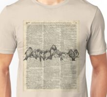 Vintage Birds On Branch Dictionary Art Unisex T-Shirt