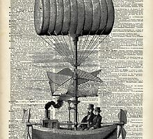 Vintage Baloon Airship Ink Illustration Over a Old Dictionary Page by DictionaryArt
