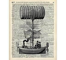 Vintage Baloon Airship Ink Illustration Over a Old Dictionary Page Photographic Print