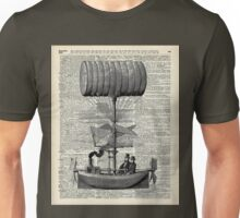 Vintage Baloon Airship Ink Illustration Over a Old Dictionary Page Unisex T-Shirt