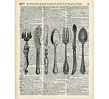 Vintage Cutlery Set,Spoon,Fork,Knife,Antique Dinning,Old-Fashioned Photographic Print