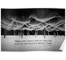 Protect trees in black and white  Poster