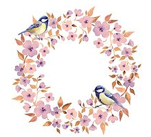 Watercolor wreath and titmouse birds  by Gribanessa