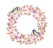 Watercolor wreath and titmouse birds  Photographic Print
