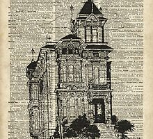 Vintage House,Old Villa,Mansion Ink Illustration over Dictionary page by DictionaryArt