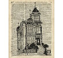 Vintage House,Old Villa,Mansion Ink Illustration over Dictionary page Photographic Print