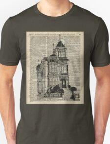Vintage House,Old Villa,Mansion Ink Illustration over Dictionary page Unisex T-Shirt