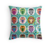 funny colorful owls Throw Pillow