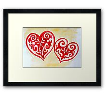 ethnic styled hearts Framed Print