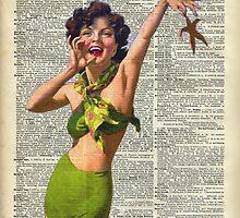 Vintage Girl with a starfish,60',70',Sunbathing,Summer,Holidays,Dictionary Art by DictionaryArt