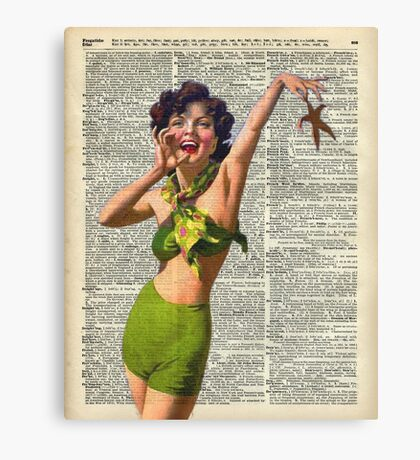 Vintage Girl with a starfish,60',70',Sunbathing,Summer,Holidays,Dictionary Art Canvas Print