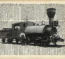 Vintage Locomotive,Old Train Black And White Photo Collage Over Old Book Page by DictionaryArt