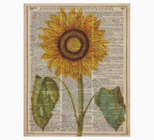 Sunflower over dictionary page,Summer Flower,Vintage Illustration Dictionary Art Baby Tee
