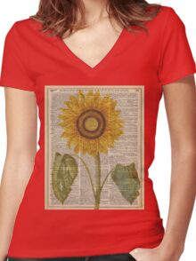 Sunflower over dictionary page,Summer Flower,Vintage Illustration Dictionary Art Women's Fitted V-Neck T-Shirt