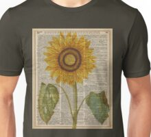 Sunflower over dictionary page,Summer Flower,Vintage Illustration Dictionary Art Unisex T-Shirt