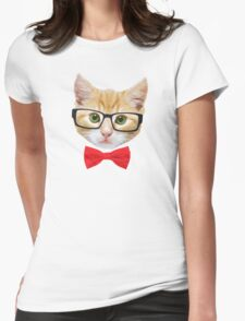 The Geek Cat Womens Fitted T-Shirt