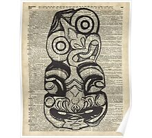 Mask Voo Doo Ink Illustration,Psychodelic,Primeaeval Art,Dictionary Poster