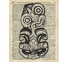 Mask Voo Doo Ink Illustration,Psychodelic,Primeaeval Art,Dictionary Photographic Print