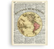 Western Hemisphere Earth map,Vintage Illustration Over Old Encyclopedia Page,Dictionary Art Canvas Print