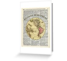 Western Hemisphere Earth map,Vintage Illustration Over Old Encyclopedia Page,Dictionary Art Greeting Card