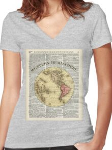 Western Hemisphere Earth map,Vintage Illustration Over Old Encyclopedia Page,Dictionary Art Women's Fitted V-Neck T-Shirt