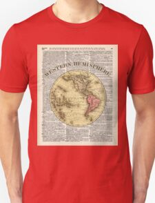 Western Hemisphere Earth map,Vintage Illustration Over Old Encyclopedia Page,Dictionary Art T-Shirt