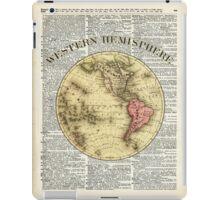 Western Hemisphere Earth map,Vintage Illustration Over Old Encyclopedia Page,Dictionary Art iPad Case/Skin