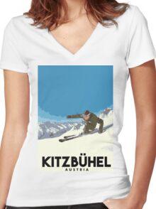 Ski Kitzbühel Austria Women's Fitted V-Neck T-Shirt