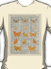 Yellow butterflies over encyclopedia book page,Monarch Butterfly Dictionary Art T-Shirt