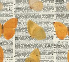 Yellow butterflies over encyclopedia book page,Monarch Butterfly Dictionary Art Sticker