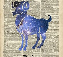 ARIES Ram Zodiac Sign,Vintage Space Stencil Collage,Dictionary Art by DictionaryArt