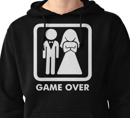 Game Over Funny T-Shirt Marriage Wedding Party Groom Couple Love T-Shirt Pullover Hoodie