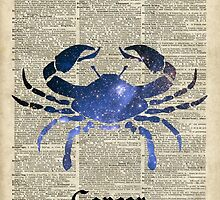 Cancer Crab Zodiac Sign,Space Stencil Collage over old Encyclopedia Page by DictionaryArt