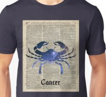 Cancer Crab Zodiac Sign,Space Stencil Collage over old Encyclopedia Page Unisex T-Shirt