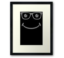 GEEK SMILEY - Funny Mens T SHIRT - S M L XL XXL - Cool Be Happy Retro Acid Face Framed Print